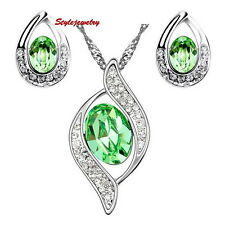 Silver Oval Green Bridal Party Teardrop Set Made With Swarovski Crystal N274IE7