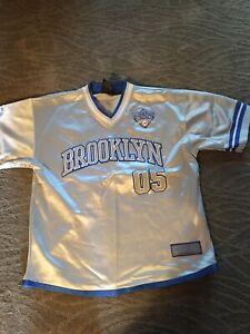 Vintage 1992 Limited Edition FUBU Brooklyn 05 Silver/Gray Youth Baseball Jersey