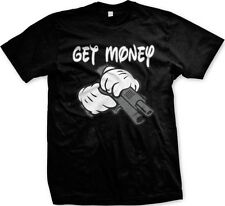 Get Money Gun White Gloves Cartoon Mickey Hands Funny Statements -Men's T-shirt