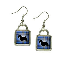 Scottie Dog on Blue Plaid Scottish Terrier Dangling Drop Square Charm Earrings