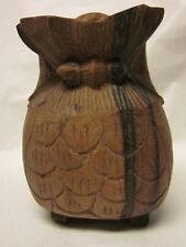 """WOOD HAND CARVED OWL Figurine Squat Ornate Great Horned Free US Ship Modern 3"""""""
