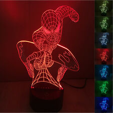 New 3D Super Hero 3D Spiderman Night Light 7 Color Change LED Desk Table Lamp
