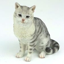 """American Shorthair Tabby Cat - Spotted Gray - Figurine Miniature 4.25""""H New"""