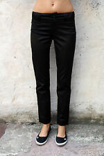 CK CALVIN KLEIN DONNA JEANS Shiny Black Taglio Dritto Fit Chino Pants W27 UK10