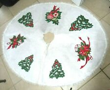 "Vintage Christmas Tree Skirt White Felt Lace Handmade? Candy Cane Large 56"" Euc"