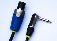 "Neutrik NL2FX Speakon to 1/4"" Jack (Rean), right angle, speaker lead, cable,"