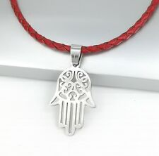 Silver Hamsa Khamsa Hand Stainless Steel Pendant Braided Red Leather Necklace