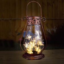 Solar Garden Lantern Copper Glass Tabletop Hanging Fairy Lights Antique Style 2 Lanterns Ar10770 Qty2