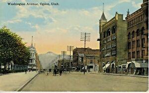 Washington Avenue Ogden Utah UT Street Scene Vintage Postcard D24