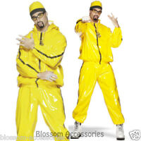 CL366 Mens Ali G Rapper Suit Yellow Tracksuit 80s Hip Hop Fancy Dress Costume