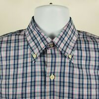 Peter Millar 100% Cotton Mens Blue Pink White Check Dress Button Shirt Medium M