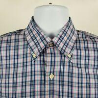 Peter Millar 100% Cotton Mens Blue Pink White Check Dress Button Shirt Medium M