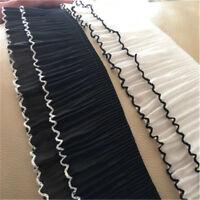 1Yard Elastic Pleated Lace Trim Chiffon Ruffle Ribbon Sewing Fabric 3.15'' Width