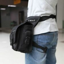 BLACK SWAT Security Tactical Drop Leg Bag Panel Utility Waist Belt Pouch UK