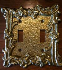 Solid Brass Vintage Ornate Rose Double Light Switch Cover Plate