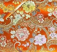 "By Yard Orange Floral CHINESE BROCADE TAPESTRY FABRIC 36"" W +Free Clear Button"