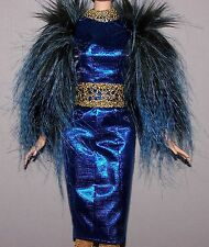 Barbie Doll Clothes Hunger Games Effie Trinket Blue Metallic Faux Fur Dress