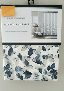 Tommy Hilfiger White Navy Blue Gray Stained Glass Leaves Fabric Shower Curtain
