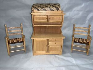 Concord Museum Dollhouse Furniture Shaker Cabinet & Shaker Rocking Chairs