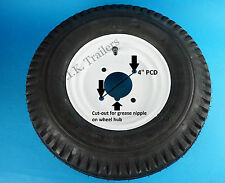"Trailer Wheel & Tyre 400 x 8 4-Ply on 4"" Inch PCD Wheel - WHITE"