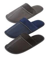 Mens Slippers New Comfort Fleece Night Lounge Shoe Adult Black Navy Grey UK 6-11