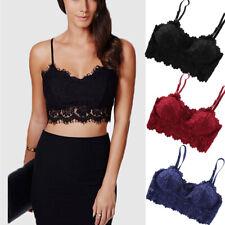 Fashion Women Ladies Eyelash Lace Strappy Vest Top Bralet Top Lace Bra Crop Top