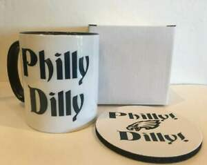 PHILLY DILLY EAGLES SUPER BOWL CHAMPS Ceramic MUG FREE coaster and GIFT BOX