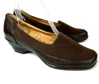 Sofft Womens Heels Brown Leather Fabric Stretch Comfort Pumps Size 8 M Career