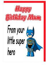 Cartolina di Compleanno per la Mamma Mummia-Supereroe-A Tema dal tuo piccolo SUPER EROE