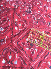 PreQuilted red hanky fabric VTG remnant scrap pieces Pre Quilted 2 pc lot