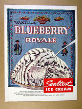 1957 Sealtest Blueberry Royale Ice Cream needlepoint art vintage print Ad
