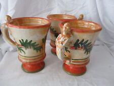 Rubino Alabaster Italy mugs figural woman olive leaf orange green pottery