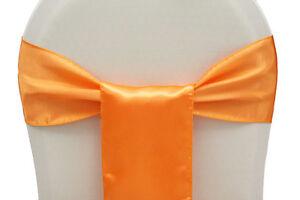 "Orange 6""X108"" Satin Chair cover Sashes Bow Wedding Function Decoration"