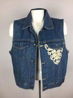 Natural Choice SOSTANZA Workwear Denim Vest Sz S Eyelet Detail Cotton