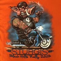 STURGIS BIKER T SHIRT BLACK HILLS BIKER RALLY 2013 HARLEY HOG DOUBLE SIDED SZ L