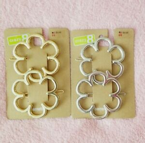 New Crazy 8 2 Sets of Gold Silver Tone Large Hair Barrettes