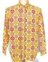 """Joe Browns Shirt Mens Bright Yellow Floral 60s Style Retro L/S XL Pit-Pit 24"""""""