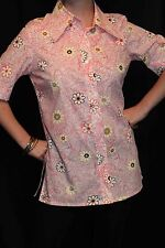 M~L Blouse Vtg 70s Pink Flower Power Mod Bird Print Side Split Tunic Top Shirt