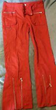 "Moto Ladies Women's Zip Punk Emo Goth Trousers Silky Red Size 12 (30"" Leg)"