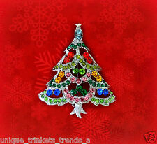 MULTI-PINK CHRISTMAS TREE RHINESTONE CRYSTAL SILVER GOLD WGP GIFT BROOCH PIN