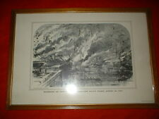 Vintage PRINT BURNING OF UNION FLEET GOSPORT NAVY YARD April 21 1861 CIVIL WAR