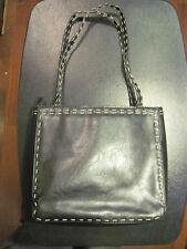 black sturdy tan stitch square vinyl purse by XOXO