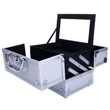 "Portable Pro 9"" Aluminum Makeup Train Case Jewelry Box Cosmetic Mirror Organizer"