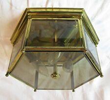 Vintage Modern Brass Smoked Glass Flush Mount Ceiling Light