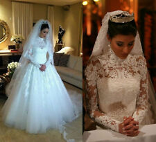 Vintage Muslim White Wedding Dress Pearls Lace High Neck Bride Gown Custom Size