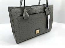 Dooney & Bourke Ostrich Janine Satchel Top Handle Bag Grey Gray Leather $298 NWT
