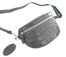 Bag Genuine Crocodile Leather Women Waist Travel Pack Bum Hip Gray Purse Pouch