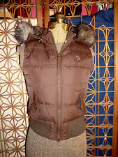 Abercrombie Juniors Down Fill Puffer Vest with faux fur lined hood sz L