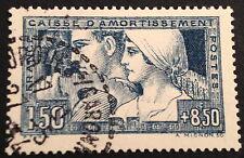 timbre france, n°252, 1,5/8,5f bleu le travail , Obl, BC, cote 180e  jolie pièce
