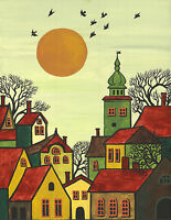 11x14 PRINT OF ABSTRACT FOLK ART PAINTING RYTA TREES HOUSES CITYSCAPE PRIMITIVE